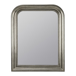 """Cooper Classics - Traditional Kwango 38 1/4"""" Rectangular Wall Mirror - Dress up an empty wall or vanity area with the stunning Kwango wall mirror. The rectangular design features rounded edges at the top and an antique silver finish with black undertones. The beaded trim provides a touch of luxury and texture. A perfect accent mirror that will complement your traditional living space! Rectangular wall mirror. Antique silver finish with black undertones. 38 1/4"""" high. 30 1/2"""" wide. Mirror glass only is 30 3/4"""" high 23"""" wide.  Rectangular wall mirror.  Antique silver finish with black undertones.  38 1/4"""" high.  30 1/2"""" wide.  Mirror glass only is 30 3/4"""" high 23"""" wide."""