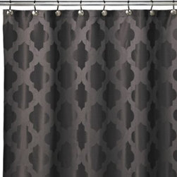 Westport Home Fashions - Tangiers 72-Inch x 72-Inch Shower Curtains in Grey - This shower curtain features a fashionable moroccan influenced woven jacquard design on polyester. A pleasant and sophisticated motif, this shower curtain is a classy addition to any bathroom decor.