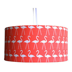 Flamingo Fabric Large Lamp Shade by Made In Fabric - The flamingo pattern on this fabric lamp shade is so bright and cheery!