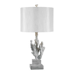 Kenroy - Kenroy 32166WH Coral Table Lamp - Cool breezes and warm reefs come to mind in Coral's organic shaped base.  Beautifully textured, like the sea's natural jewelry, this lamp adds its chic sensibility to any design scheme.