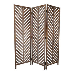 ALOHA SCREEN - Bring the island spirit home with the 3-panel solid wood Aloha Screen.   This classic hawaiian design is inspired by archetecturial designs found throughout the Hawaiian Islands.  The wood is finished in an appealing weathered and rubbed grey/brown hue.