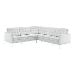 """Modway - Loft L-Shaped Leather Sectional Sofa EEI-254, White - The mid-20th century was a time when hopes were at their highest. Technological developments were bustling forward, and the new world was just barely visible in the distance. But this time also presented a dilemma of sorts. The test of this forthcoming era was to be whether industry would foster comfort or stifle it. What makes the Loft series so complete? At first glance, it displays a pleasant linear design with an external tubular stainless steel frame. The back and seat are tufted and buttoned to enhance the overall richness of the piece. But can these aspects be said to define the totality of a classic? The answer then must be something profound. A thought that serves as representative of that era, while matching the sentiments of our present age. Our suggestion is that the Loft series conveys the potential of progress. From amidst the steel base, a comfortable seating experience is attained. From out of the exponential surge of technological growth, comes peace and solace. Perhaps this is why Loft is the sofa series of choice for so many Fortune 500 companies. Aside from its iconic feel, the set is symbolic of a time when technological innovation could do no wrong. When """"faster""""was seen only as something positive. The Loft series is the preferred choice for reception areas, living rooms, hotels, resorts, restaurants and other lounge spaces."""