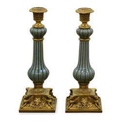 China Furniture and Arts - Celadon Porcelain Candle Holders - These delicately hand made porcelain candle holders contain in a vessel of extraordinary beauty with celadon green and accented with hand-forged of ornate brass base with golden finial. Thus, they provide dramatic lighting and extend the beauty of theirs contents while serving as art mediums unto themselves in any room.