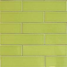 Pera verde de metro de baldosas de cerámica | modwalls Clayhaus Tile