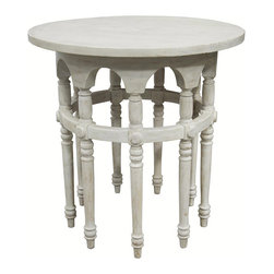 """Noir - Noir 9 Leg White Wash Side Table - Natural and simple designs, Noir products supply a timeless complement to a variety of interiors. This side table invites eclectic sophistication to a transitional living room or bedroom. The white wash accent furnishing's nine intricately turned legs rise to display a classic round top. Made from mahogany hardwood.  28""""W x 28.5""""H."""