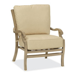 Thos. Baker - Catalina Outdoor Club Chair - The catalina collection features subtly weathered heavy-gauge aluminum frames, elegantly set-off with romantic accents and a classic crossback style. Plush cushion sets are covered in premium Sunbrella outdoor fabrics made-to-order in your choice of signiture solid and textured colors or premium woven and striped patterns.Signature or premium cushion sales are final and ship in 2-3 weeks.