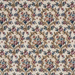 Beige Red And Green Floral Vine Tapestry Upholstery Fabric By The Yard - This traditional tapestry upholstery fabric has antique written all over it. This fabric is incredibly durable, and will last for years!