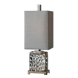 Uttermost - Uttermost Bashan Table Lamp w/ Rectangle Hardback Shade in Silver Gray - Table Lamp w/ Rectangle Hardback Shade in Silver Gray belongs to Bashan Collection by Uttermost Nickel plated water glass with polished nickel plated metal details. The rectangle hardback shade is a Silver gray linen fabric. Table Lamp (1)