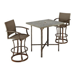 HomeStyles - Urban Outdoor 3PC High Dining Set - Clear coated rusted aged metal. Fake rivet heads on table base. Ball bearing swivel. Synthetic-weave seat and back. Table Dimensions: 36 in. W X  30 in. D X  42 in. H. Chair Dimensions: 24.5 in. W X  26 in. D X  48 in. HStrength meets beauty in this urban industrial design.  The Urban Outdoor collection by Home Styles displays unrefined beauty in the midst of aged metal rust sealed with a clear coat. This 3-piece bistro set consists of molded concrete over a light weight core table top with metal base, CycropleneTM, a synthetic-weave, and clear coated rusted aged metal chairs.  Design features include ball bearing swivel, sculpted base, and fake rivet heads. Set includes bistro table and two stools. Table size: 36w 30d 42h. Stool size: 24.5w 26d 48h, each.
