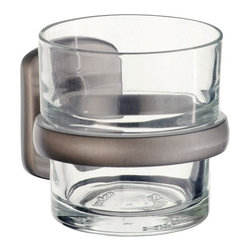 Smedbo - Cabin Tumbler Holder w Clear Glass Tumbler in Brushed Nickel Finish - Concealed fastening. Detachable tumbler for easy cleaning. 1.75 in. W x 4.13 in. D x 3.13 in. H