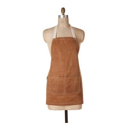"Birdkage - Barley Waxed Mini Bib Apron - Made from heavyweight waxed cotton canvas with a visible ""grid"" pattern, this sturdy leather-colored mini bib apron will stand up to many an adventurous home project. Finished with rustic details such as blue jean rivets and contrasting top stitching, it has a rugged, can-do spirit that will inspire you."