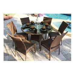 Hospitality Rattan - Grenada Patio 7 PC Round Dining Set - A round Grenada dining table for outdoor settings invites cozier contact while providing generous sizing for meals or entertaining. The base with concave legs features wicker skirting matched by six side chairs. Choose in antique brown or a vintage whitewash. Include: 6 Side Chairs & Round Table. Made of Aluminum Frame w All Weather Viro Fiber Wicker. Available in Viro Antique Brown Finish or White Wash fiber. Includes tempered frosted glass. Weather and UV resistant. No assembly required. Fully assembled five piece set. Sturdy aluminum legs for extra support. Side chair: 24 in. W x 24 in. L x 37 in. H (9 lbs.). Round Table: 50 in. W x 50 in. L x 30 in. H (100 lbs.)The Grenada contemporary patio set has a fully anodized aluminum frame and woven Viro fiber, which gives this collection a unique textured surface. The Grenada collection does not require cushions. The collection also features frosted tempered glass on all its tables, along with the ability to accommodate an umbrella with the patio dining set.