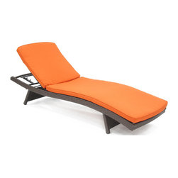 "Jeco - Wicker Adjustable Chaise Lounger with Brick Orange Cushion - ""Old tradition flared with modern curves. The ultimate sleek chaise lounger."
