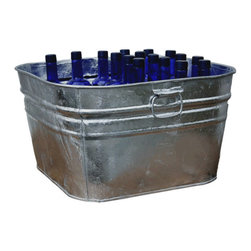 USA - Large Galvanized Square Tub - Hot dipped, heavy duty use tub. Body swedges add strength to the tub, easy carry handles. Great for everyday use, this tub is ideal for use as a planter, beverage tub, ice tub, or to wash your clothes & pets in.