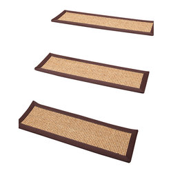 """Natural Area Rugs - """"Casual Living"""" Carpet Stair Treads, 100% Sisal, 9"""" x 29"""" (Set of 13) - 100% Natural Sisal, with cotton border, hand crafted in USA by Artisan rug maker. Carpet stair treads adds a bit of fashion to any staircase. They are also a great addition to any house with small children & pets. Not only do carpet stair treads reduce noise on staircase but add traction therefore preventing you or your family members from tripping or falling down the stairs. Variations are part of the natural beauty of natural fiber."""