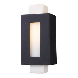 Elk Lighting - Elk Lighting 42195/1 Sundborn 1-Light Sconce in Matte Black - 1-Light Sconce in Matte Black belongs to Sundborn Collection by Elk Lighting Influenced From The Minimalist, Angular Designs Of Sweden, The Sundborn Series Utilizes Simple Forms To Create ?ǣOut Of The Box?ǥ Style.?� ?�A Solid Cast Aluminum Frame, Finished In Tarnished Silver Or Matte Black, Cleverly Surrounds An Opal White Glass Column Providing A Sleek Contrast Between Colors And Material.  Sconce (1)