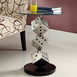 Homelegance Galaxy Round Glass Chairside Table w/ Cubes Base in Brushed Chrome
