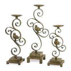 CKI Bristow Candle Holder - Set of 3 - With aviary finesse, this set of three Bristow candleholders by designer Carolyn Kinder look great in a variety of interiors. Holds pillar candles.