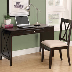 Monarch - Cappuccino Birch Veneer 2Pcs Desk Set - This classic two piece desk set will be a nice addition to your hallway, bedroom, or informal home office area. It features a contemporary style, with a roomy work space, straight smooth edges and straight legs. One drawer is great for stowing away your mail and keeping unwanted clutter organized. With a dark cappuccino birch finish and thick solid hardwood and veneer side panels with a in. X in. motif, this writing desk will add sophistication to any room. The matching chair features sleek wooden legs, accompanied with a comfortably padded beige covered seat and in. X in. back design.