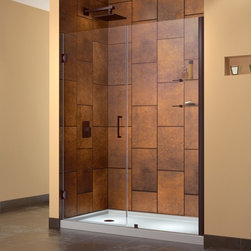 "DreamLine - DreamLine SHDR-20547210CS-06 Unidoor Shower Door - DreamLine Unidoor 54 to 55"" Frameless Hinged Shower Door, Clear 3/8"" Glass Door, Oil Rubbed Bronze Finish"