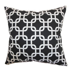 """The Pillow Collection - Qishn Geometric Pillow Black 18"""" x 18"""" - Add a dramatic finishing touch to your living space by adding this deep black throw pillow. This accent pillow features a geometric print pattern in white and set against the black background. This square pillow suits a modern styled home with its intricate pattern and dark hue. The 18"""" pillow is made from 100% soft cotton fabric. This contemporary pillow is a fun statement piece to use in your living room or bedroom. Hidden zipper closure for easy cover removal.  Knife edge finish on all four sides.  Reversible pillow with the same fabric on the back side.  Spot cleaning suggested."""