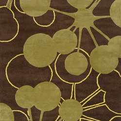 Organic Modern Rug — Bubble In Brown, 2.5x8