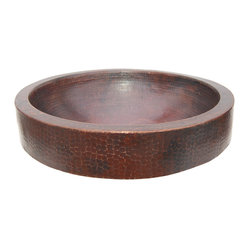 Semi Recessed Copper Vessel Sink With Apron - Antique Dark