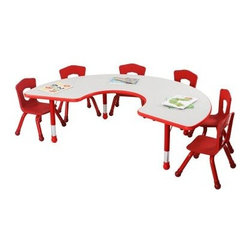 Brite Kids 71 x 48 in. Adjustable Group Table - The Brite Kids 71 x 48 in. Adjustable Group Table is ideal for bringing bright color and functional furniture into any early childhood environment. The horseshoe shape makes it easy for all kids to focus on their teacher or each other. This table features a sturdy laminate top in a variety of colors - it's easy to wipe down for quick sanitation. Sturdy steel legs are fitted with round plastic boots to protect floor surfaces. Features innovative and adorable slightly scalloped sides that make chair placement clear and offer a more comfortable spot for kids. Plastic edging is T-molded with a barbed insert to prevent separation from the laminate. This table is height adjustable from 14.5 to 24.5 inches in 1-inch increments to accommodate all ages.