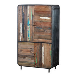 Artemano - Large Cabinet Made of Recycled Boat Wood - This cabinet's unique design, combining iron and colorful recycled timber, gives this piece an eclectic feel that could complement many styles. Having survived years of erosion by the sea and its elements, this recycled wood is extremely strong and durable. Big enough to store plenty of your wardrobe, dinnerware or whatever else you might choose!