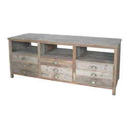 Four Hands - Betty Tv Console - Bring classic form and modern functionality to your home with this TV console. Crafted from reclaimed pine that's bleached, sanded and finished to enhance the natural beauty of the wood, it's the ultimate in rustic refinement.