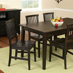 HomeStyles - Arts and Crafts Dining Set w 6 Chairs and Buf - Set includes table, six side chairs and  dining buffet. This set is capable of adapting to a variety of settings. Eco-friendly and sustainable. Top coat will help to protect against wear and tear from normal use. Expands to 58 in. with an 16 in. leaf -- comfortably seating 6 people. Made from hardwood and veneer . Ebony finish. Assembly required. 66 in. W x 36 in. D x 30 in. H. Chairs: 17.75 in. W x 22.25 in. D x 37.75 in. H. Buffet: 18 in. W x 54.5 in. D x 36 in. H. Assembly Instructions for Desk. Assembly Instructions for Chair. Assembly Instructions for Buffet