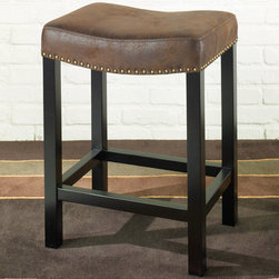 Armen Living - Tudor Backless 30in. Stationary Barstool in a Wrangler Brown Fabric - The Tudor fabric backless barstool is in a rich looking saddle brown fabric with a brushed leather look and nailhead accents.