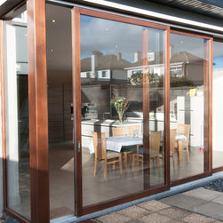 Timber Lift and Slide Doors - 2 Sliding doors with 1 fixed fixed frame, that created the largest lift and Slide System completed in Ireland at a whopping 6m wide x 3m high.