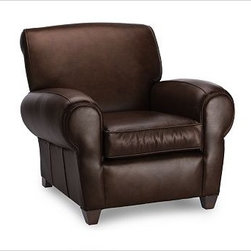 """Manhattan Armchair & Ottoman Set, Leather Whiskey - With its signature blend of quality, value and style, our Manhattan Leather Club Chair is a Pottery Barn classic. The well-padded arms, high back and deep seat resemble furniture used in Manhattan nightclubs of the 1930s. 37"""" w x 40"""" d x 34"""" h {{link path='pages/popups/PB-FG-Manhattan-3.html' class='popup' width='720' height='800'}}View the dimension diagram for more information{{/link}}. {{link path='pages/popups/PB-FG-Manhattan-4.html' class='popup' width='720' height='800'}}The fit & measuring guide should be read prior to placing your order{{/link}}. Seat cushions have a polyester wrap for a tailored and neat look. Proudly made in America, {{link path='/stylehouse/videos/videos/pbq_v36_rel.html?cm_sp=Video_PIP-_-PBQUALITY-_-SUTTER_STREET' class='popup' width='950' height='300'}}view video{{/link}}. For shipping and return information, click on the shipping info tab. When making your selection, see the Quick Ship and Special Order leathers below."""