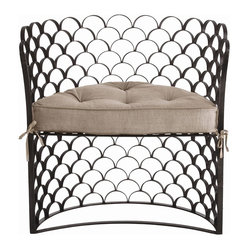 Arteriors - Vero Chair - Stylishly suitable for indoor or outdoor decor, this unique chair will make your seating more exciting. The demilune shape is crafted from scalloped natural iron screen, and the comfy natural linen cushion has tufted button detailing.