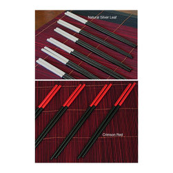 None - Silver Leaf Chopsticks Gift Set (Set of 6) - Add a flair of the Far East to your table with this decorative chopsticks set offering the traditional implements to enjoy sushi, noodles, or dim sum. Host a dinner party with these six pairs of black enamel chopsticks with silver leaf accents.