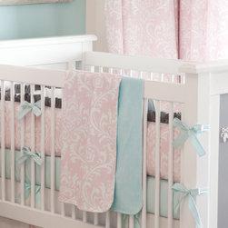 Ritzy Baby Crib Blanket - Crib blanket in Pink Osborne Damask. Reverse side in a cozy Aqua Minky.