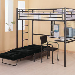 Coaster - Workstation Loft Bed, High Gloss Black - Functional space saving designs offer ultimate practicality for your child's bedroom. The top twin bunk features full length guard rails for security, while the convenient built-in ladder allows for easy access. The high gloss black metal frame presents a sleek casual appeal that will match any decor. Below the bunk bed is a corner desk, providing room for a work space or computer, while the desk chair offers comfortable seating. Whether your child is in elementary school or high school, this highly functional loft bed will make a useful addition to their bedroom. Mattress and futon pad sold separately.