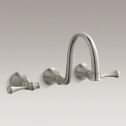 KOHLER - KOHLER Revival(R) wall-mount bathroom sink faucet trim with traditional lever ha - Blending European style and early American influences, Revival faucets and accessories bring continuity to your bathroom design. This bathroom sink faucet trim features a gracefully arched spout and traditional-style lever handles in a space-saving wall-m