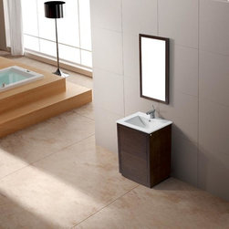 Vigo - Vigo Saba Single Freestanding Vanity with Mirror - The VIGO Saba Vanity features a white, ceramic sink and a wood-rimmed mirror. Push to open and push to close cabinet door hardware is included.
