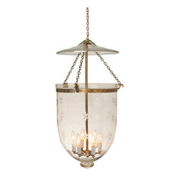 "Star Etching Hundi Glass Bell Jar Lantern 14""D, Antique Brass - Starcut Design Hundi Glass Bell Jar Lantern 14"" Diameter, Approximate 33"" Height (Jar Height 20"") with 6 lights. Comes in 3 Finishes- Antique Brass, Antique Bronze, Nickel Silver. Each bell jar comes with glass lid, electrification kit and 6 feet of chain and corresponding canopy."