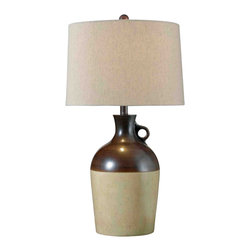 Kenroy - Kenroy Beamus Transitional Table Lamp X-RBA37023 - The primitive jar shaped base adds casual charm and appeal to this Kenroy Lighting table lamp. From the Beamus Collection, this transitional table lamp features Antique Brown finishing and other tones that help compliment the primitive design. Cream linen fabric adorns the tapered drum shade, complimenting the design.