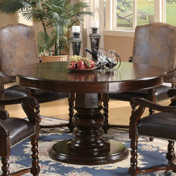 Coaster - Harrelson Collection Round Dining Table in Walnut - This set features a smooth round table top that rests above a simple and traditionally styled pedestal base in a rich dark finish. The chairs have high curved crown chair backs, covered in soft medium brown microfiber. The plush padded seats are covered in rich and durable dark brown faux leather, with classic nail head trim and elegantly curved arms.