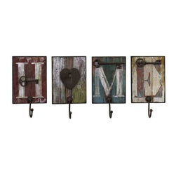 Casa Wall Hooks - Set of 4 - Home is where you can hang your hat on these heartwarming, distressed, painted wood, wall hooks, set of four