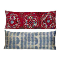 Suzani Silk Turkish Pillow - Turkish cushion collection designed with exotic and beautiful fabrics, combining the electric and sumptuous, mixing motifs, shapes and colors from many different cultures