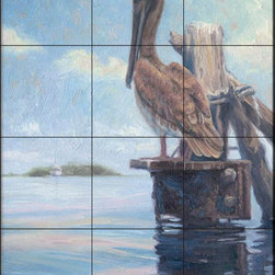 The Tile Mural Store (USA) - Tile Mural - Waiting - Lb - Kitchen Backsplash Ideas - This beautiful artwork by Lucie Bilodeau has been digitally reproduced for tiles and depicts a pelican standing by a dock looking at a sailboat  Images of waterfowl on tiles are great to use as a part of your kitchen backsplash tile project or your tub and shower surround bathroom tile project. Pictures of egrets on tile, images of herons on tile and decorative tiles with ducks and geese make a great kitchen backsplash idea and are excellent to use in the bathroom too for your shower tile project. Consider a tile mural of water fowl for any room in your home where you want to add interesting wall tile.