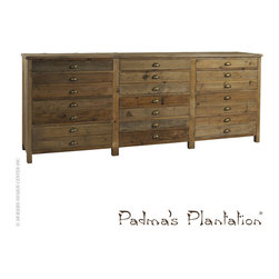 Padma's Plantation Salvaged Wood Printmaker's Sideboard - Padma's Plantation Salvaged Wood Printmaker's Sideboard