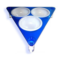 the Tripod : modern pet feeder - Beautiful translucent blue acrylic frame with 3 removable bowls. Designed for multiple cats or small dogs.