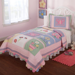 None - Anna's Daydream Embellished 3-piece Quilt Set - With its pastel design, Anna's Daydream Embellished 3-piece Quilt Set is appropriate for childrens' rooms. It is filled with cotton materials that make it soft to the touch. It comes in different colors, such as pink, soft green, and light blue.