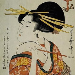 Wallmonkeys Wall Decals - Fine Art Murals Portrait of a Courtesan Smoking Her Pipe by Utamaro  - 60 Inches - Easy to apply - simply peel and stick!